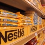 DECATUR, GA - MAY 27: Nestle chocolate products are displayed on the shelves of a Kroger supermarket May 27, 2003 in Decatur, Georgia. Nestle Chief Executive Peter Brabeck reiterated today that he expected U.S. regulators to approve a $2.5 billion planned acquisition of Dreyer's Grand Ice Cream. If the acquisition is approved, Nestle, already the world's largest food firm, would become co-leader of the global ice cream market with Anglo Dutch group Unilever. (Photo by Justin Sullivan/Getty Images)